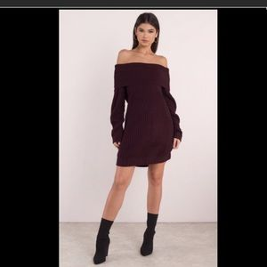 NWT Wine off the shoulder sweater dress!!!